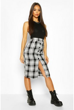 Black Woven Tartan Button Front Midi Skirt