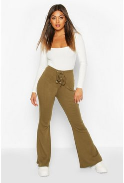 Olive Ribbed Lace Front Pants