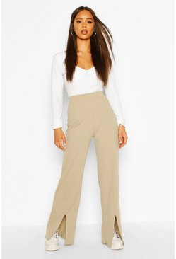 Sage Ribbed Split Front Trouser