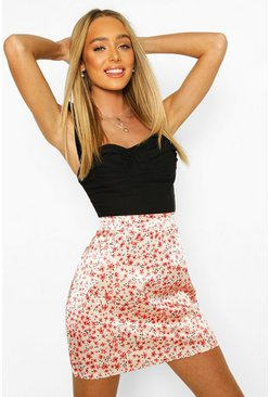 Blush Floral Satin Mini Skirt