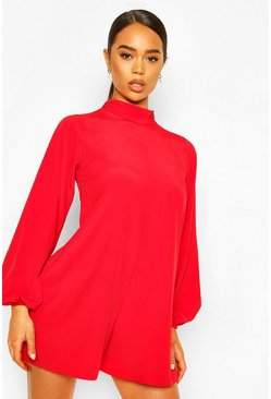 Red High Neck Blouson Sleeve Woven Playsuit