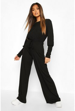 Black Ribbed Tie Detail Wide Leg Jumpsuit