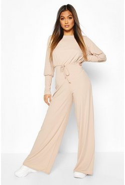 Stone Ribbed Tie Detail Wide Leg Jumpsuit