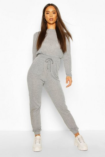 Grey Soft Marl Slouchy Tie Detail Jumpsuit