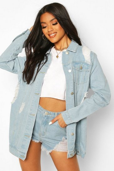 Light blue Distressed Longline Denim Jacket