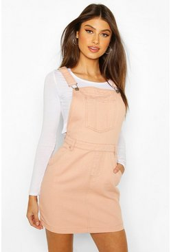 Nude Denim Pinafore Dress