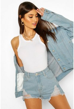 High-Waist Mama-Shorts in Destroyed-Optik, Hellblau