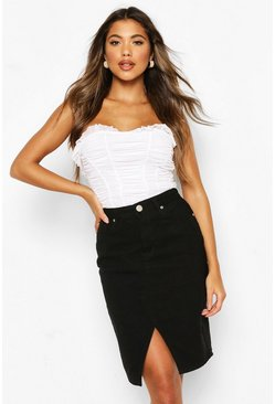 Black Denim Stretch Midi Skirt