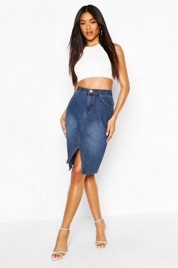 Mid blue Denim Stretch Midi Skirt