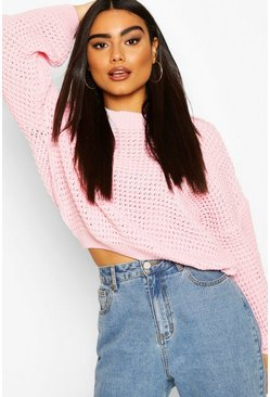 Blush Oversized Balloon Sleeve Waffle Stitch Jumper