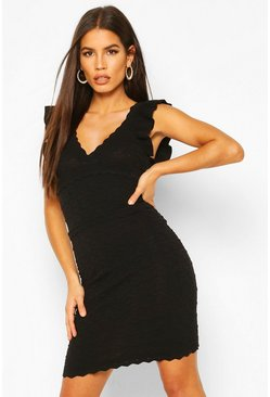 Black Premium Ruffle Pointelle Wrap Front Dress