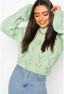 Sage Pointelle Oversized Jumper