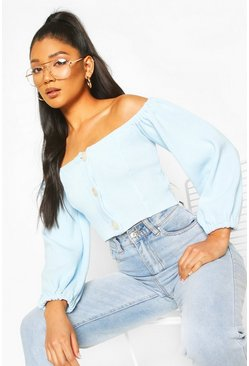 Baby blue Knitted Bardot Button Detail Crop Top