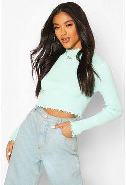 Sage Knitted Ruffle Detail Crop Top