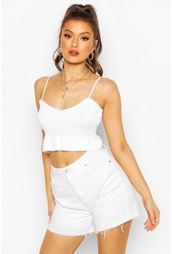 White Knitted Ruffle Crop Top