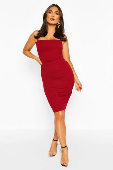 Wine Strappy Bodycon Dress