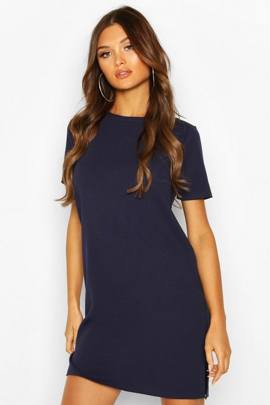 Navy Tailored Shift Dress