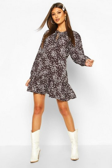 Black Ditsy Floral Tie Neck Shift Dress