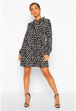 Black Polka Dot Pussybow Smock Dress