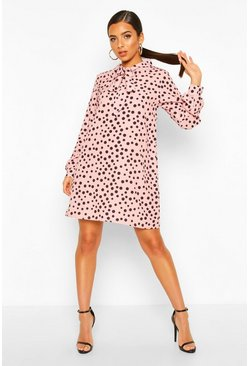 Blush Polka Dot Pussybow Smock Dress