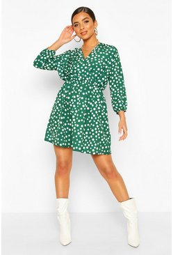 Forest Wrap Over Polka Dot Dress