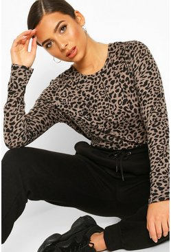 Mocha Knitted Mono Animal Printed Top