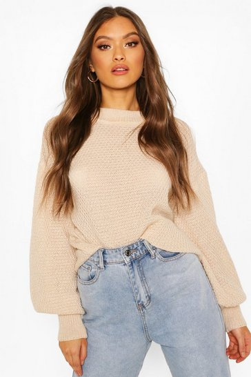 Cream Oversized Balloon Sleeve Popcorn Textured Jumper