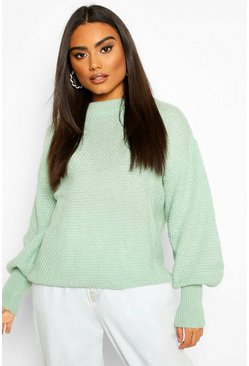 Sage Oversized Balloon Sleeve Popcorn Textured Jumper