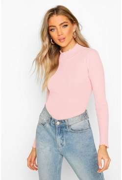 Baby pink Ruffle Knitted Top