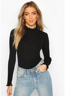 Black Ruffle Knitted Top