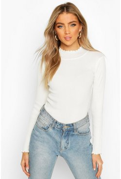 Cream Ruffle Knitted Top