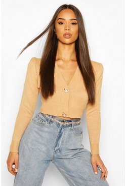 Camel Cropped Knitted Puff Sleeve Cardigan