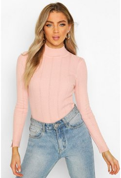 Baby pink Pointelle Turtle Neck Knitted Top
