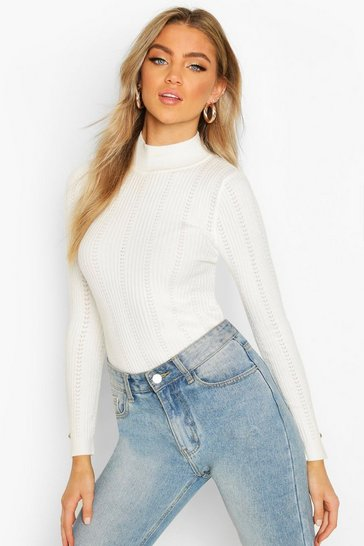 Cream Pointelle Turtle Neck Knitted Top