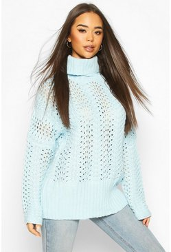 Baby blue Pointelle Roll Neck Oversized Jumper
