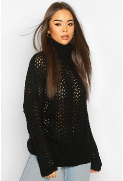 Black Pointelle Roll Neck Oversized Jumper