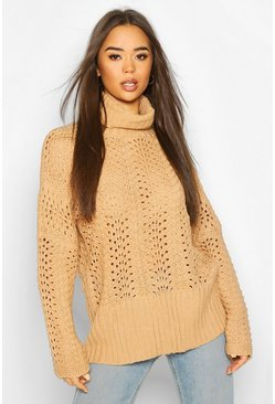 Stone Pointelle Roll Neck Oversized Jumper