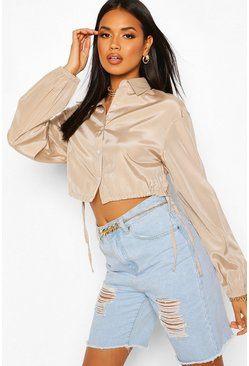 Stone Drawcord Cropped Woven Shirt