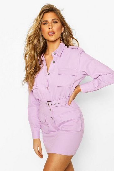 Lilac Utility Pocket Belted Cotton Twill Dress