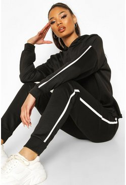Black Fit Side Stripe Hoodie & Jogger Lounge Set