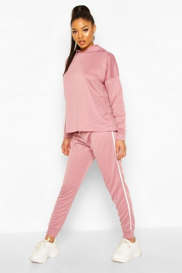 Mauve Fit Side Stripe Hoodie & Jogger Lounge Set