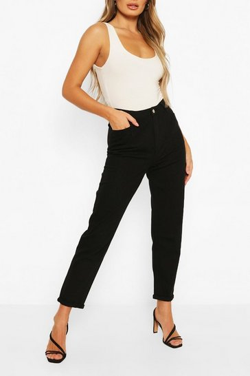 Black High Rise Twill Boyfriend Jean