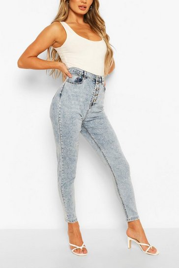 Light blue High Rise Acid Wash Stretch Skinny Jean