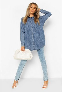 Blue Oversized Acid Wash Denim Shirt