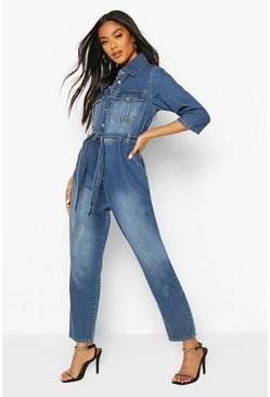 Mid blue Belted Denim Boilersuit