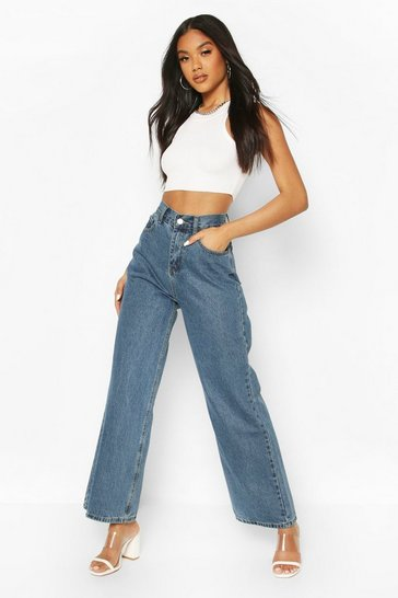 Mid blue High Rise Wide Leg Jean