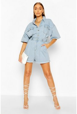 Light blue Waist Detail Denim Romper