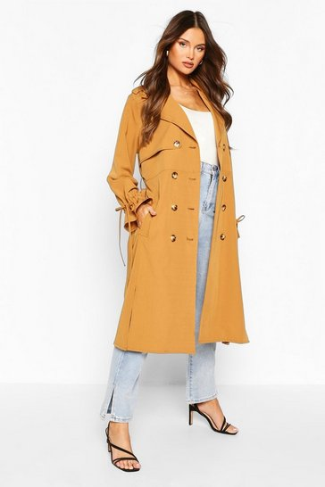 Camel Utility Pocket Tie Waist Trench Coat
