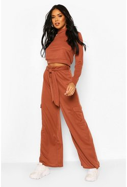 Chocolate Utility Pocket Soft Rib Co-ord Set