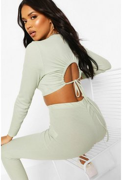 Sage Ruched Top & Leggings Soft Rib Set